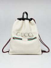 Gucci White/Black Leather Printed Drawstring Backpack