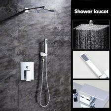 "8"" Chrome Bathroom Rainfall Shower Head Taps Set+Hand Sprayer Shower faucet"