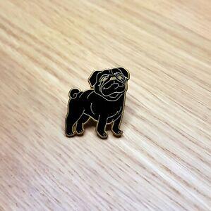 BLACK PUG DOG ENAMEL PIN BADGE