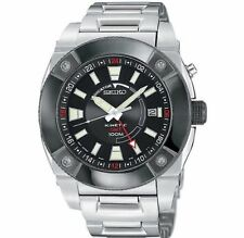 BRAND NEW SEIKO SUN005 KINETIC GMT MENS BLACK DIAL SILVER STAINLESS STEEL WATCH