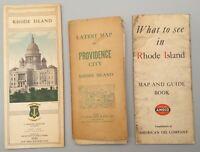 4 Antique Providence Rhode Island Maps: Amoco, Walker Lith, Dept of Public Works