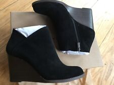 New Lucky Brand women's wedge bootie suede ankle boots black natural size 7.5