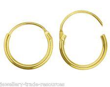 1x Pair 15mm 9ct Yellow Gold Round Hinged Hoop Sleeper Earrings