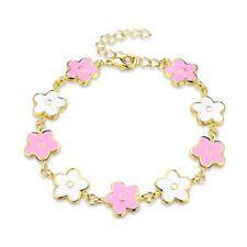 Fashion bracelet White and Pink flower charms enamel flowers HI