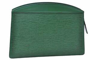 Authentic Louis Vuitton Epi Trousse Crete Clutch Bag Green M48414 LV C3496