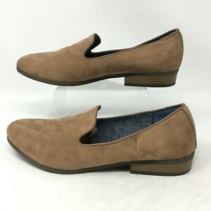 Dr. Scholls Emperor Loafer Slip On Flats Block Heel Suede Leather Tan Womens 10M