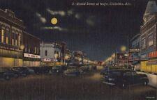 Postcard Broad Street at Night Gadsen Al Alabama