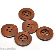 20 Accessories Boutons avec 4 trous en Bois Rond Brun 35mm