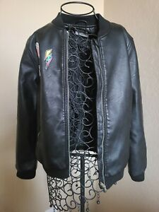 ZARA GIRLS Faux Leather Bomber Jacket With Patches SIZE 13/14