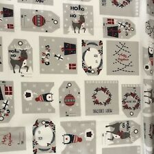 Christmas Fabric Panel 100cm x 100cm Gift Tags Or Quilting - 2 Of Each Picture