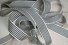 "5 yard 1"" wide vintage petersham grosgrain striped black white ribbon hat"