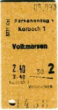 Fahrkarte Personenzug Korbach Volkmarsen 1963 Eisenbahn KI3039