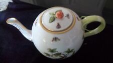 Herend,Hungary Rothschild Bird TeaPot Rose Finial lid 1971RO21 Multi/Gold trim