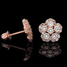 Flower Stud Earrings 14K Rosde Gold Screwback Cluster Created Diamond Simulants