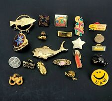 Vintage lot of Pins Lapel Brooch Costume Jewelry UAW Smiley Face Fish Military