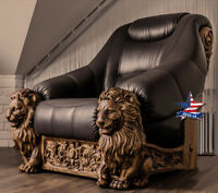 ❤️Lion Chair exclusive furniture✅Wood Carved Art sculpture statue figure Baroque