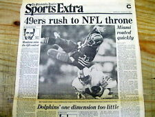 1985 newspaper SAN FRANCISCO 49ERS w Joe Montana WIN SUPER BOWL v Miami Dolphins