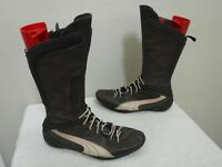 PUMA 7.5 38 Brown Leather Zip Snap Button Tall Athletic Boots Flats Sneakers