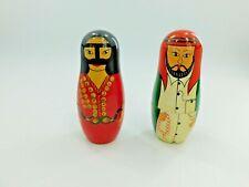 "VINTAGE Pair of 2 Wooden Arabic Nesting Dolls 6"" (10 dolls)"