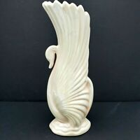 RARE Pearl White Swan VASE Iridescent pottery 12 inches ceramic Fine!