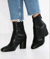 NEW! TOPSHOP Women's Bella Black Ankle Heels Boots! Size 8.5