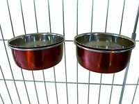 Ellie-Bo Pair of Dog Bowls for Crates/Cages or Pens, Small, 0.6 Litre, Red
