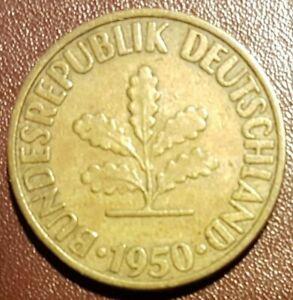 1950 D Germany 10 Pfennig Coin - BUNDESREPUBLIK DEUTSCHLAND