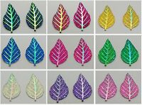 20 Flatback Resin Leaves Glitter Rhinestone Cabochons 52X28mm Pick Your Color