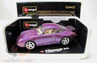 BBURAGO 3060 Porsche 911 Carrera (1993) metallic violett Scale 1:18 - OVP