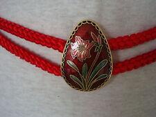 """Vintage L Red Gold Cloisonne' Egg Shaped Buckle Asian Lily Enamel Belt 30""""-36"""""""