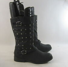 "US WOMEN Size 8.5    new  Black 1.5""Block Heel Sexy  Mid-Calf Spikes/Stud Boot"
