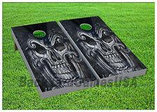Vinyl Wraps Black Metal Skull Cornhole Boards Decals BagToss Game Stickers 551