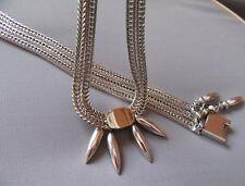 Vintage MONET Silver Tone Unique Dangle Bullet Bolo Set Bracelet & Necklace Set