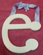 "Blue & White Checkered ""E"" Sign With Blue Ribbon Bow To Hang In Boy'S Nursery"