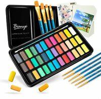 Bianyo Watercolor Set 36 Vibrant Colors Watercolor Paper Brushs Travel Case