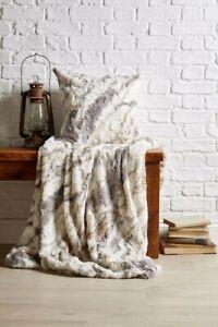 Arctic Wolf Faux Fur Blanket Sofa Bedroom Marble Mink Soft Animal Print Throw