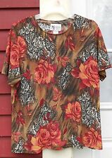 """MAGGIE SWEET Glittery Multi-Color Short Sleeve Poly/Spandex Blouse Large (43"""")"""