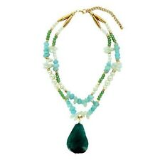 """Pearl Necklace with Turquoise Stone 18"""""""