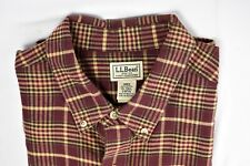 L.L. BEAN Mens Long Sleeve Flannel Shirt Brown Red Plaid  XL Tall