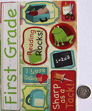 NO 176 SCRAPBOOKING - 9  LARGE FIRST GRADE SCHOOL SAYINGS STICKERS