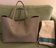 Tory Burch NEW Pebbled French Gray w/ Purple Interior Perry Tote SOLD OUT