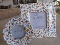 """REDUCED - CARR Set, Two Colorful Floral Frames, Round & Square - 2.5""""& 3.5"""""""