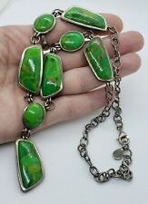 Green Turquoise Statement Necklace Signed Vintage 925 Sterling Silver Large