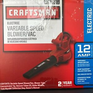 Craftsman Variable Speed 12 AMP Electric Vacuum Mulcher Bag Kit Leaf Blower