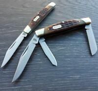 Buck Trio/Solo Combo Pocket Knife 420J2 Stainless Plain Edge Blade Brown Handle