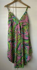 ASOS Beach Cover Up Dress UK Size 10 Pink Green Blue Palm Leaves
