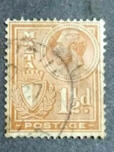 1926 Malta King George V & Coat Of Arms 1 1/2d - 1v Used