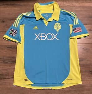2012 Seattle Sounders FC Super Cyan Authentic Adidas 2XL XXL Soccer Jersey
