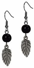 Fashion Dangle Antiqued Feather Earrings Black & Silver By Grace Of New York