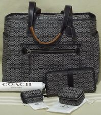 COACH Mini Signature Multi-Function Diaper Baby Tote Bag XL Purse 5707 RARE SET!